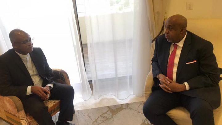 Affaires foncières :  Molendo Sakombile reçoit le nouvel évêque du diocèse de Lisala, Mgr Joseph Bernard Likolo.